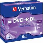DVD+R Verbatim 43540 8x,  8.5GB, 5buc, Matt Silver