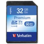 Memory Card SDHC Verbatim Premium 32GB, Class 10, UHS-I U1, V10