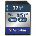 Memory Card SDHC Verbatim Pro 32GB, Class 10, UHS-I U3, V30