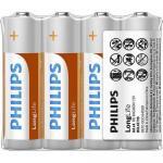Baterie Philips LongLife, 4x AA/R6, Foil