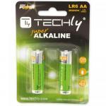 Baterii Techly Alcaline 1.5V, 2x LR6/AA, Blister