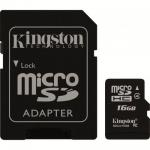 Card memorie NAND Flash KINGSTON microSDHC 16GB, cu adaptor SD, Clasa 4