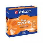 DVD-R Verbatim 4X, 1.4GB, 8 cm, 5 buc, Branded Jewel Case