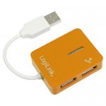 Hub USB Logilink Smile, 4x USB 2.0, Orange