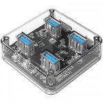 Hub USB Orico MH4U, 4x USB 3.2 Gen 1, Transparent