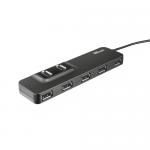 Hub USB Trust Oila, 7x USB 2.0, Black