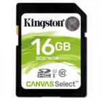 Memory Card Kingston Canvas Select SDHC 16GB, Clasa 10