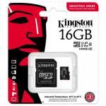 Memory Card microSDHC Kingston Industrial 16GB, Class 10, UHS-I U3, V30, A1 + Adaptor SD