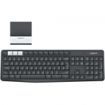 Tastatura Wireless Logitech K375s, Bluetooth, Layout UK, Black + Suport