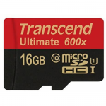 Memory Card microSDHC Transcend Ultimate 600x 16GB, Class 10, UHS-I U1