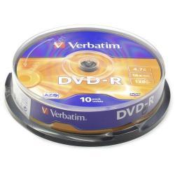 DVD-R Verbatim 16x, 4.7GB, 10 buc, Spindle Matt Silver Surface