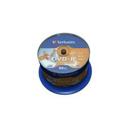 DVD-R Wide Inkjet Printable No ID Brand Verbatim 16X, 4.7GB, 50 buc, Spindle