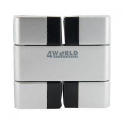 Hub USB 4World Folded 4 x USB 2.0, Silver