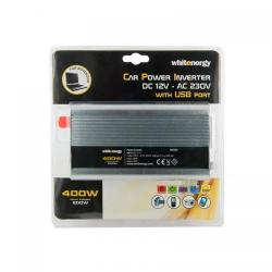 Invertor tensiune Whitenergy 06581 DC/AC de la 12V DC la 230V AC 400W, USB