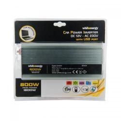 Invertor tensiune Whitenergy 06585 DC/AC de la 12V DC la 230V AC 800W, USB