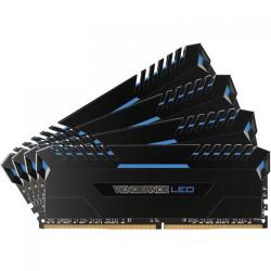 Kit Memorie Corsair Vengeance Blue LED 64GB, DDR4-2666MHz, CL16, Quad Channel