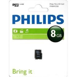 Memory Card Philips MicroSDHC, 8GB, Clasa 4 + Adaptor SD Inclus