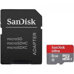 Memory card SanDisk MicroSDHC Ultra 8GB UHD-I U1 Clasa 10 + Adaptor SD