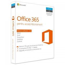 Microsoft Office 365 Home pentru PC/Mac, Telefon si Tableta, Multi Language, Subscriptie 1 an - 5 utilizatori, Medialess P2