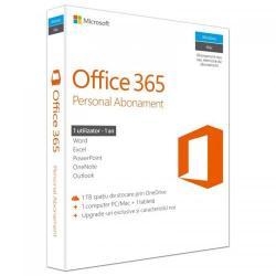 Microsoft Office 365 Personal pentru PC/Mac, Telefon si Tableta, Romanian, Subscriptie 1 an - 1 utilizator,  Medialess P2