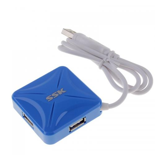 Hub USB SSK SHU027, 4x USB 2.0, Blue