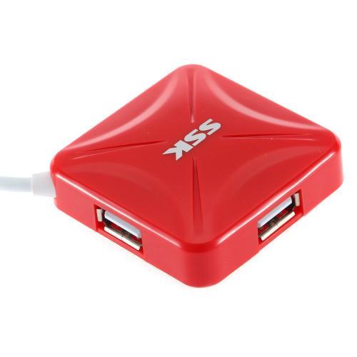 Hub USB SSK SHU027, 4x USB 2.0, Red