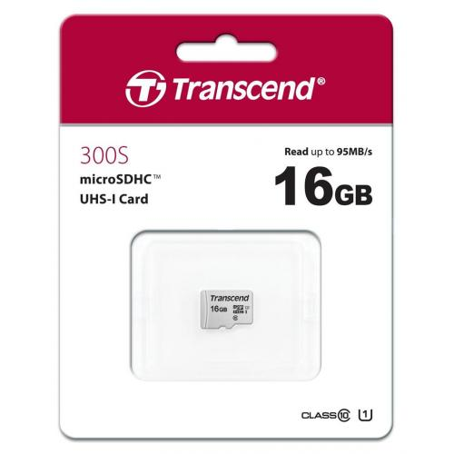 Memory Card microSDHC Transcend 300S 16GB, Class 10, UHS-I U1